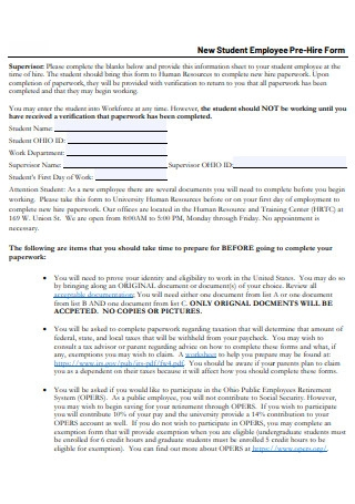 New Student Employee Pre Hire Form