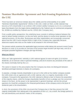 Nominee Shareholder Agreement