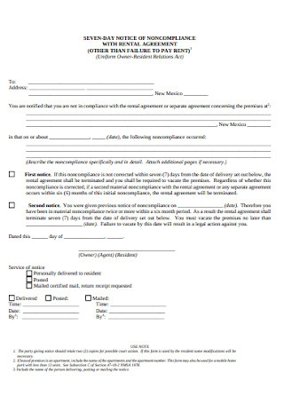 Non Compliance Notice with Rental Agreement