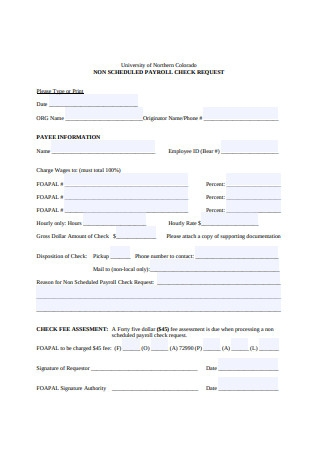 Non Scheduled Payroll Check Request Form