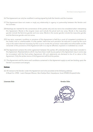 Non Transferable License Agreement