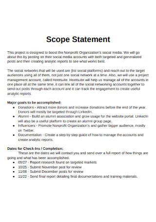 Nonprofit Organization Project Scope Statement