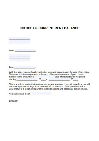 Notice of Current Rent Balance