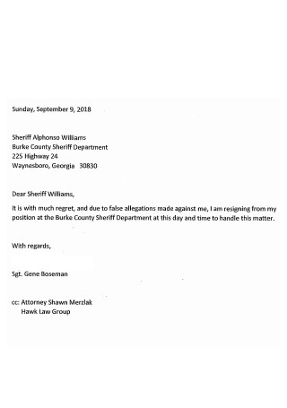 Officer Resignation Letter to Attorney