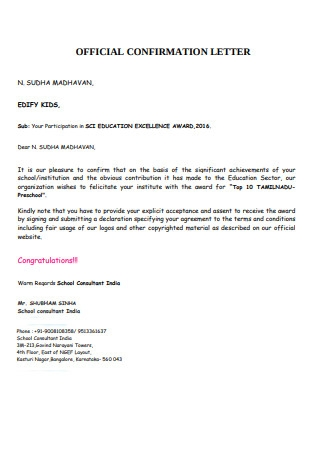 Official Confirmation Letter