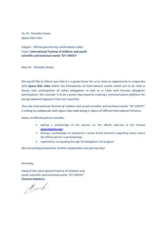 Official partnership confirmation letter