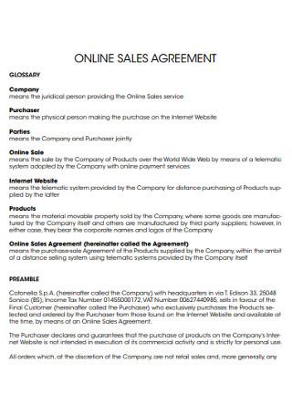Online Sales Agreement
