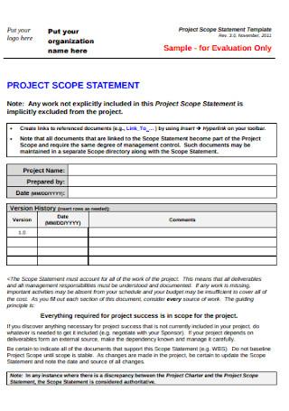Organization Project Scope Statement