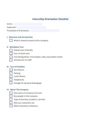Orientation Checklist Format