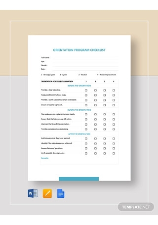 Orientation Program Checklist Template