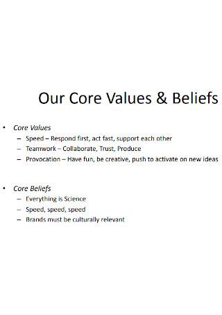 Our Core Values Beliefs