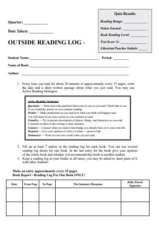 Outside Reading Log in PDF