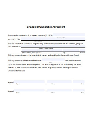 Ownership Change Agreement Format