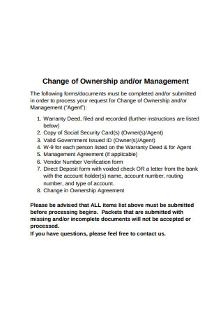 Ownership Change Agreement Sample