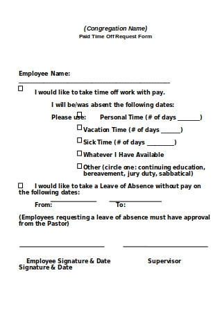 Paid Time Off Request Form