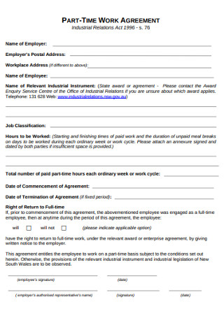 Part TIme Work Agreement