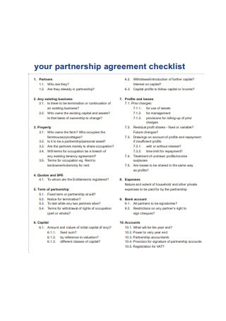 Partnership Agreement Checklist Format