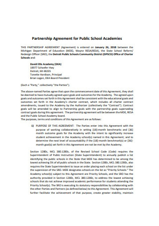 Partnership Agreement for Public School Academies