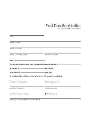 Past Due Rent Letter