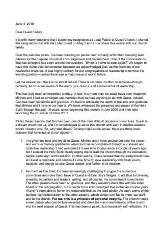 Pastor Resignation Letter