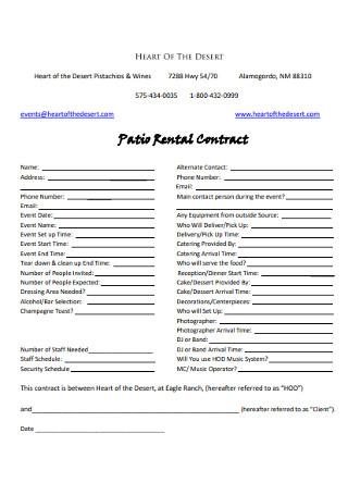 Patio Rental Contract