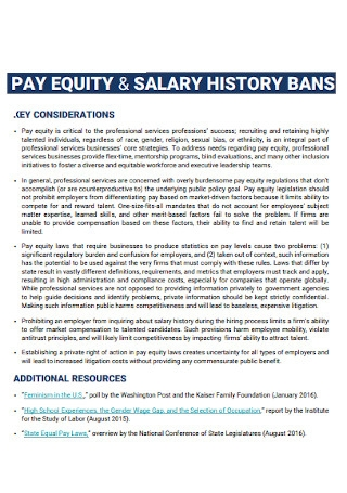 Pay Equity and Salary History Bans