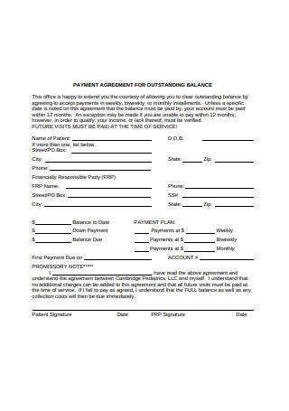 Payment Agreement for Outstanding Balance