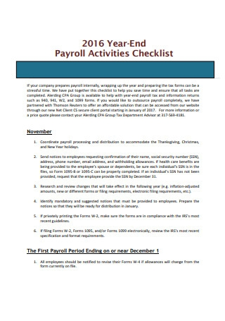 Payroll Activities Checklist