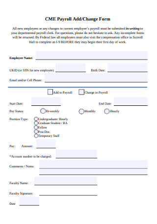 30 Sample Payroll Change Forms In Pdf Ms Word