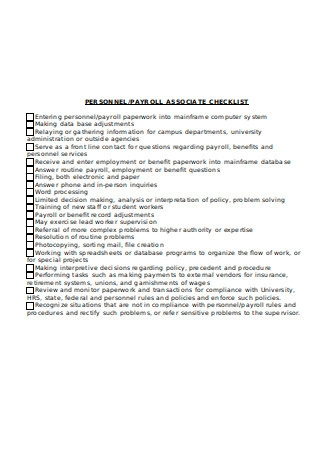 Payroll Associate Checklist