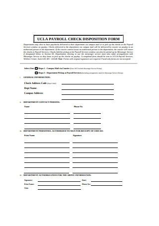 Payroll Check Disposition Form