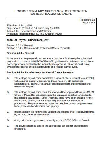 Payroll Check Format