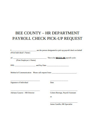 Payroll Check Pick Up Request Form