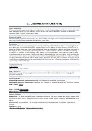 Payroll Check Policy
