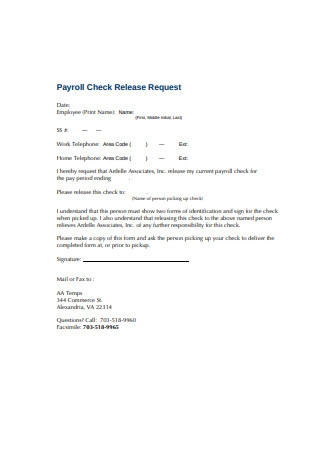 Payroll Check Release Request