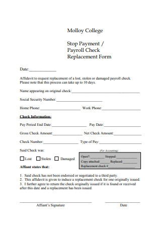 Payroll Check Replacement Form