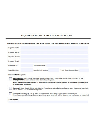 Payroll Check Stop Payment Form