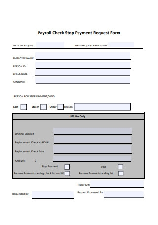 Payroll Check Stop Payment Request Form