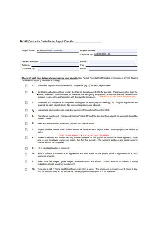 Payroll Checklist Example