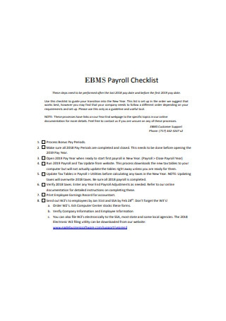 Payroll Checklist Sample