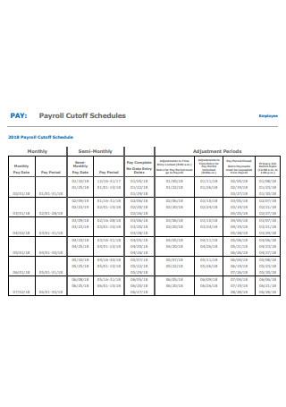 Payroll Cutoff Schedule