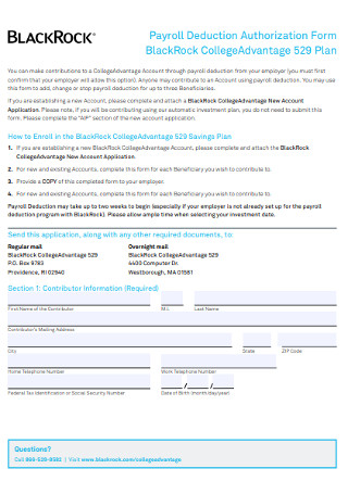 Payroll Deduction Authorization Change Form