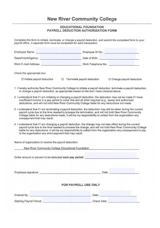 Payroll Deduction Authorization Form Sample