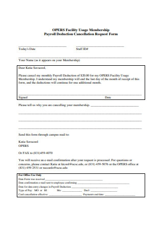 Payroll Deduction Cancellation Request Form