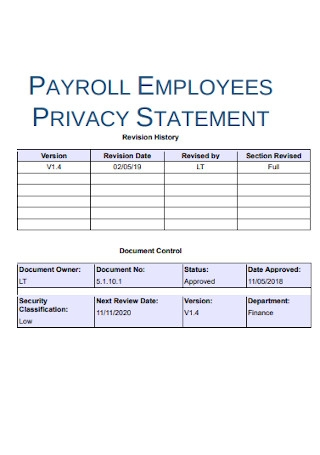 Payroll Employee Privacy Statement