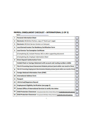 Payroll Enrollment Checklist