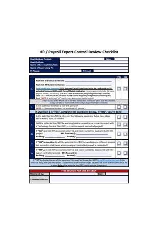 Payroll Export Control Review Checklist