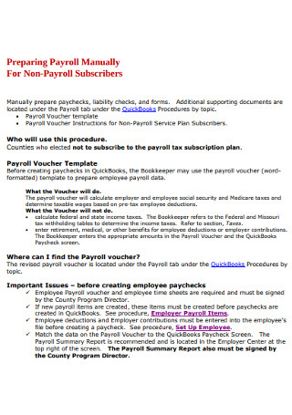 Payroll Manually For Non Payroll Subscribers