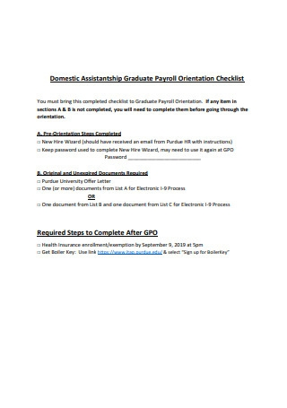 Payroll Orientation Checklist