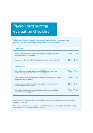 Payroll Outsourcing Evaluation Checklist